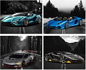 Car Posters - Lamborghini Posters - Aventador, Sian, Huracan Super, Centenario Sports Car Wall Art - Supercar Decor Set of 4 Unframed (8x10 inches) Exotic Supercars Pictures - Lambo Greyscale