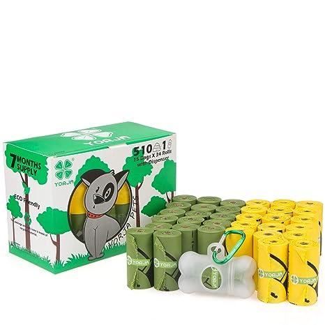 YORJA Bolsas para Excrementos de Perro con Dispensador,34 Rollos/510 Unidades,Extra Grueso,Fuerte ya Prueba de Fugas Biodegradable Bolsas para Caca de ...