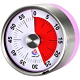 AIMILAR Small Mechanical Kitchen Timer - 60 Minute Visual Countdown Timer Magnetic with Loud Alarm for Kids and Adults Baking