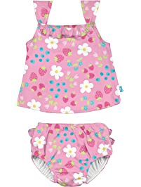 I-Play. Baby Girls' Tankini Set with Built-in Reusable Absorbent Swim Diaper