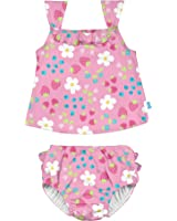 i play..... Baby Girls' 2pc Ruffle Tankini Swimsuit Set with Snap Reusable Absorbent Swim Diaper