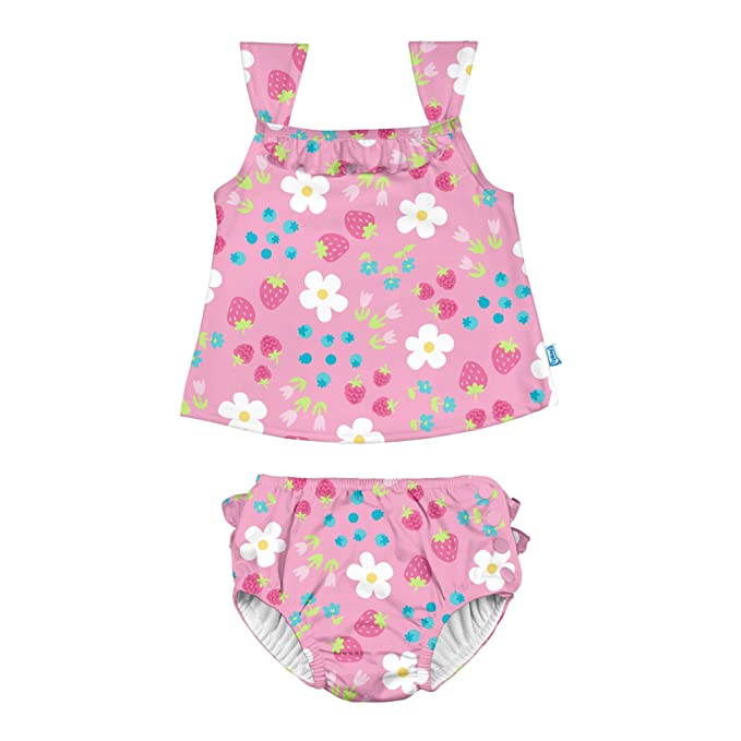 a01244344f7d5 I-Play. Girls Two-Piece Ruffle Tankini Set with Snap Reusable Swimsuit  Diaper