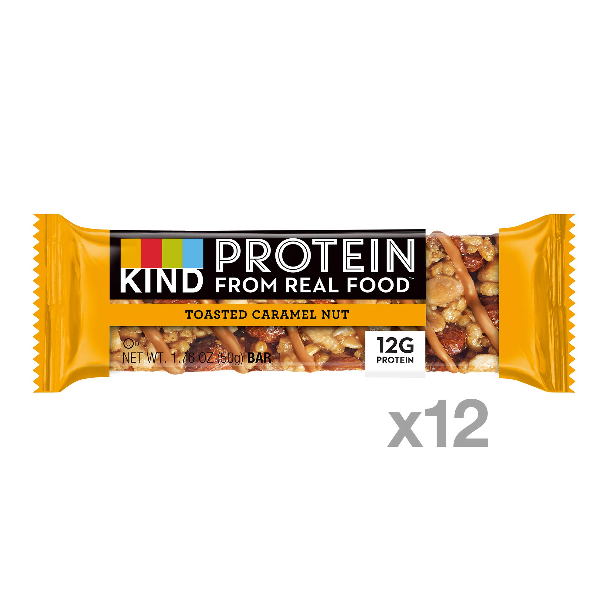 KIND Protein Bars, Toasted Caramel Nut, Gluten Free, 12g Protein,1.76oz, 12 count by KIND (Image #2)