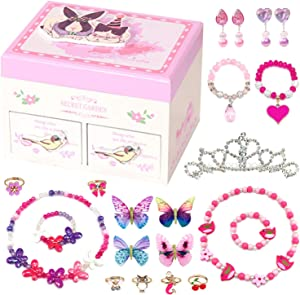Elesa Miracle Little Girl Kids Wood Jewelry Box and Girl Princess Jewelry Dress Up Accessories Toy Playset Set