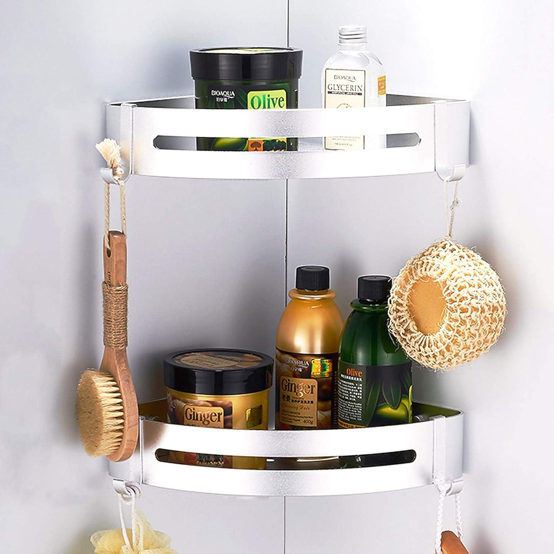 CROSOFMI Shower Shelf Rustproof Corner Shower Caddy for Bathroom Kitchen Organizer, Aluminum (Triangle,Silver,2 Packs)