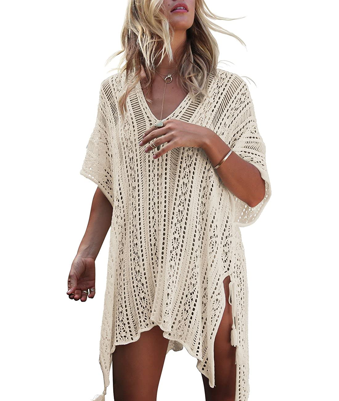 2cc69a5053bfc Sanifer Women's Sexy Crochet Lace Tunic Swim Cover Up Beach Swimsuit  Bathing Suit Cover Up Dress Tshirt (Beige) at Amazon Women's Clothing store: