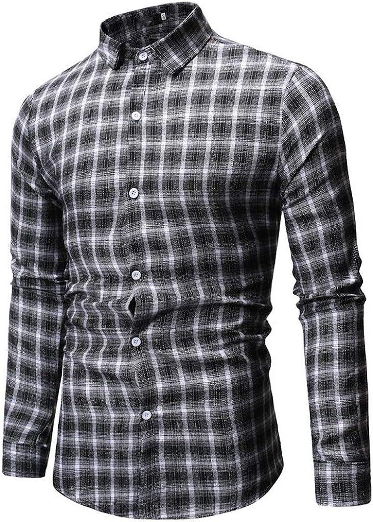 STORTO Mens Slim Fit Long Sleeve Plaid Shirt Button Up Shirt Pajamas Casual Top
