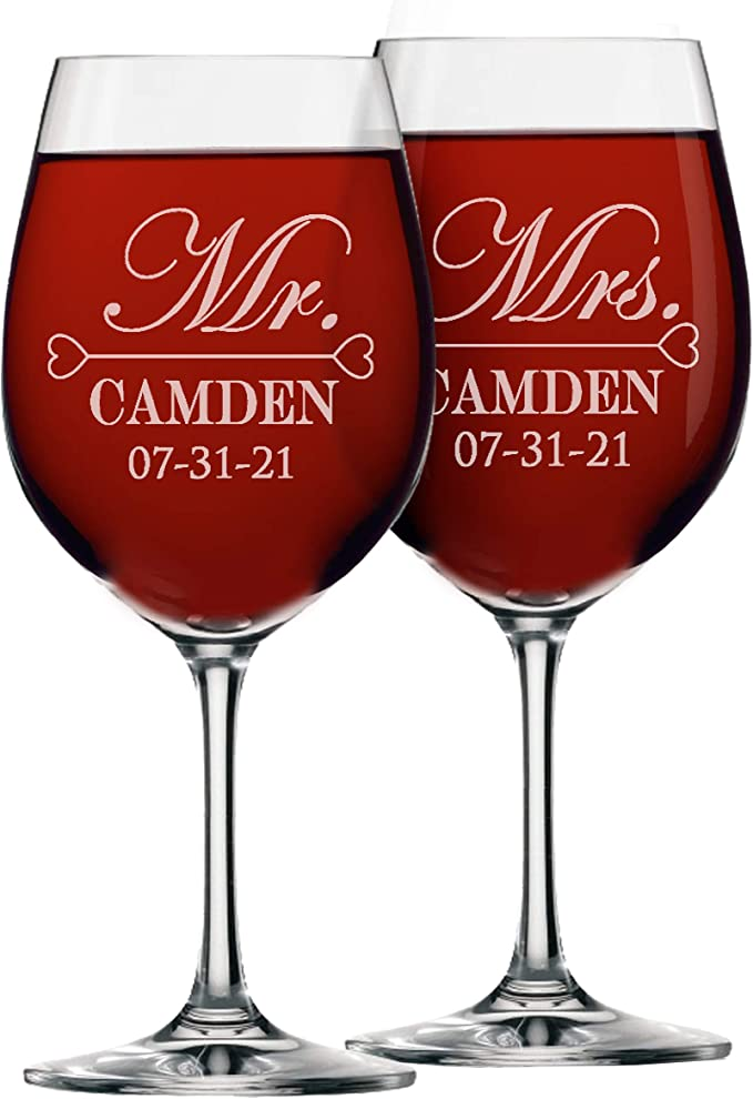 wine glasses wedding reception glassware screen printed choose your color 9 ounce monogram Set of 24 personalized stemless 9 oz