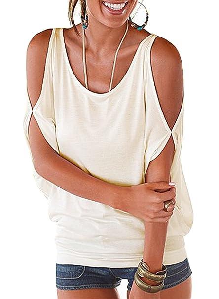 Imixcity Femme Chic Été Manches Ouvertes Lâche Chemisiers Batwing Haut Blouse T-Shirt avec Dos Shirt À Lacets