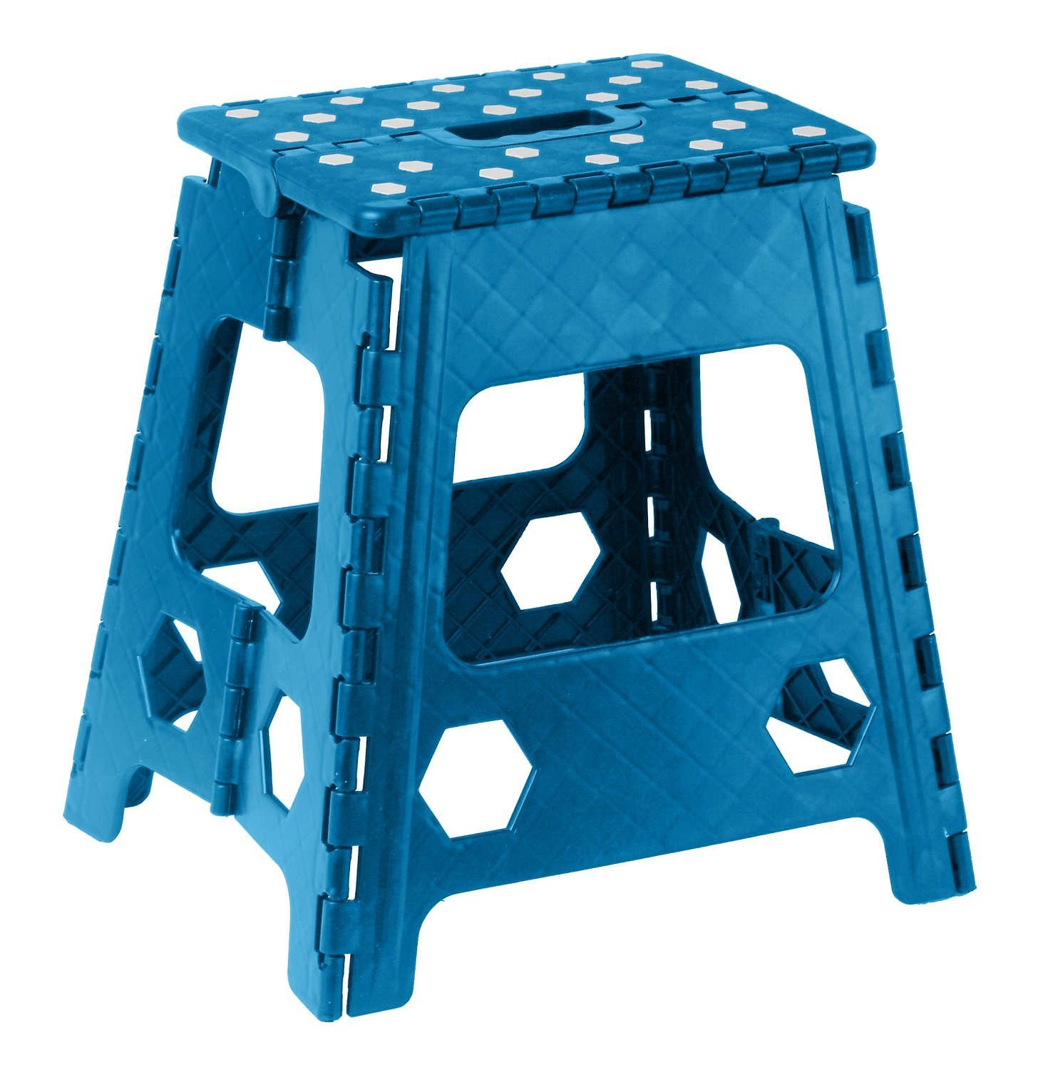 Folding Step Stool 15 Inch with Anti Slip Dots (Blue) Superior Performance 307-333