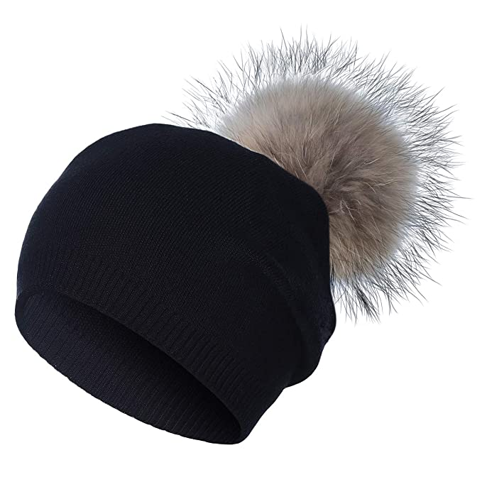 WELROG Women Hairball Knit Hats - Wool Blend Cable Knit Beanie by Tough  Headwear Stay Warm Ski Cap