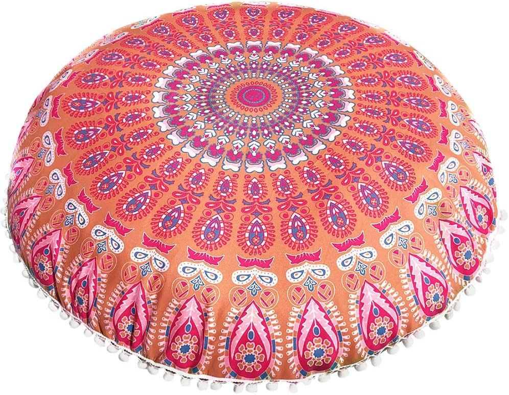 A Home Decorative Bohemian Pouf Case with Zipper Weite 18inch Round Floor Pillow Cover Cushion Meditation Seating Ottoman Throw Cover