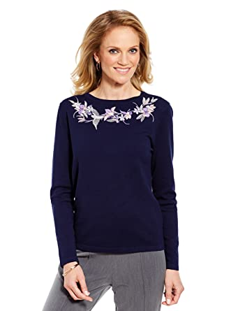 4e83201da026a Chums Ladies Womens Long Sleeve Embroided Jumper  Amazon.co.uk  Clothing