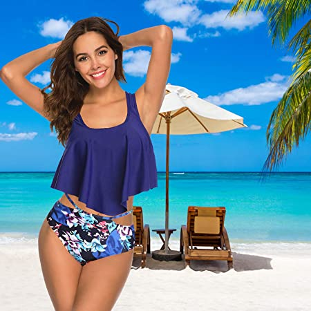 WHCREAT Traje de Baño para Mujer Bikini Set Dos Piezas Floral Tankini Trajes de Baño de Playa