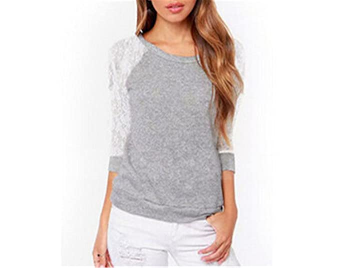 Jamemcabin Femme Women Backless Long Sleeve Blouses Shirts Lace Crochet Ladies Tops Blusa Gray S