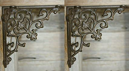Southern Metal French Country Farmhouse Open Shelving Shelf Brackets  Supports, Cast Iron ~ 5 1/2 inches, Set of 2 B-52B