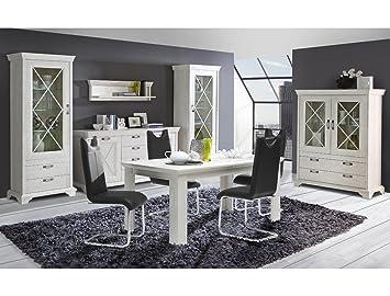 Esszimmer Kasimir 42 Pinie Weiß 6 Teilig LED Beleuchtung Esstisch 3x  Vitrine Sideboard Wandboard