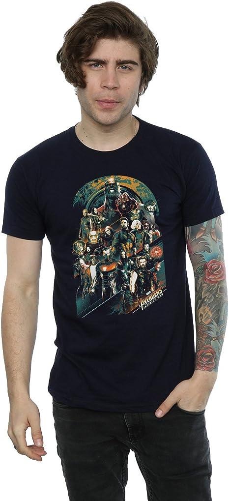 TALLA M. Avengers Hombre Infinity War Team Camiseta
