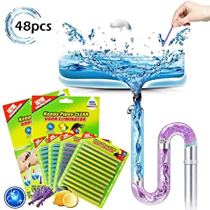 48PCS Drain Cleaner Sticks Sink Deodorizer Clog Remover Organic Enzyme Drain Cleaner Septic Tank Safe Little Cleaner Expert for Kitchen Bathroom Toilet Showers