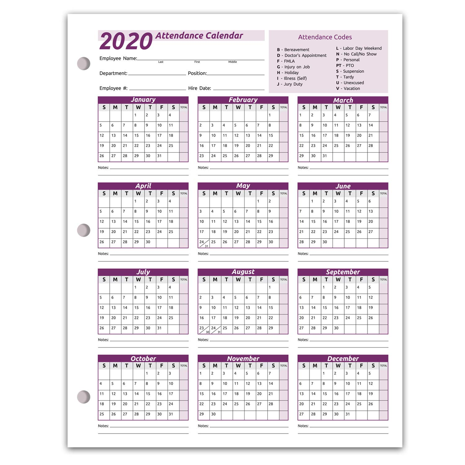 Work Tracker Attendance Calendar Cards- 8 ½ X 11 Cardstock/Pack of 25 Sheets (2020) by Next Day Labels