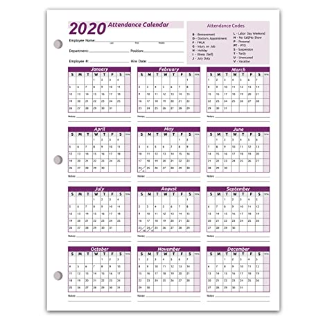 Printable W2 Form 2020.Work Tracker Attendance Calendar Cards 8 X 11 Cardstock Pack Of 25 Sheets 2020