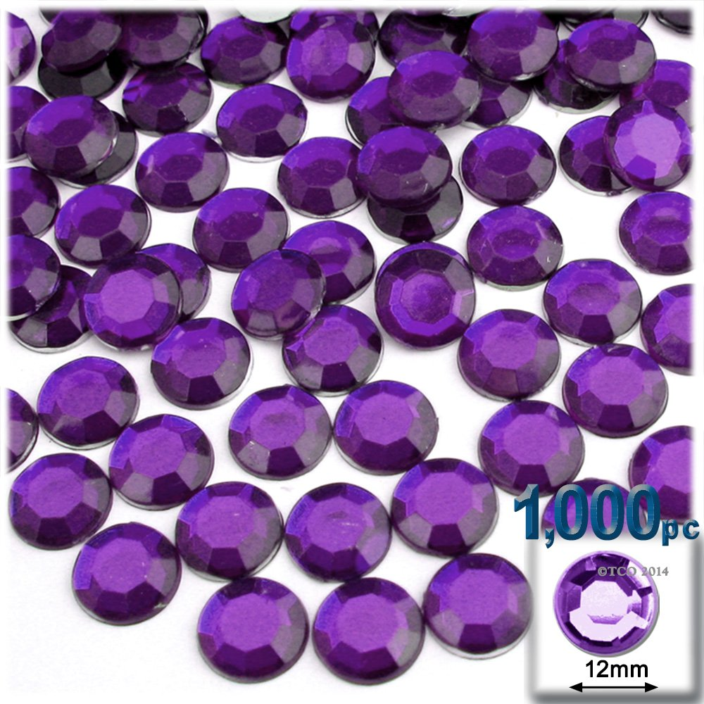 The Crafts Outlet 1000-Piece Round Rhinestones, 12mm, Purple Amethyst by The Crafts Outlet