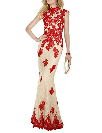 Lace Appliqued Evening Dresses for Women Open Back A Line Empire Waist Formal Ball Gown Prom