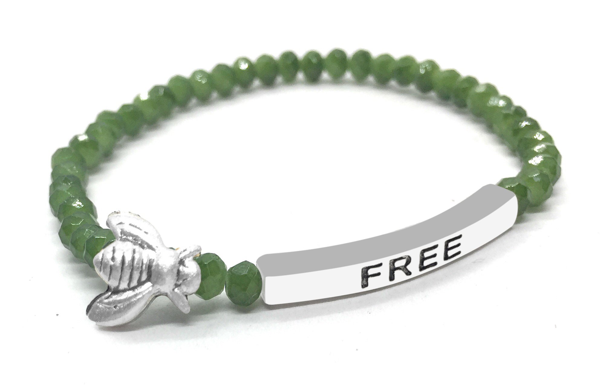 Bumble Bee Free Inspirational Quote Bracelet Green Bead Stacking Stretch Made in USA