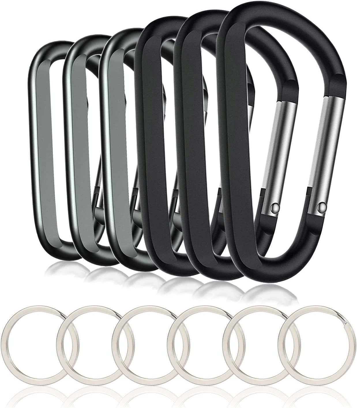 6 Pcs Upgraded D-Ring Locking Carabiner 3 1 Inch D Shape Keychain Clips for O...