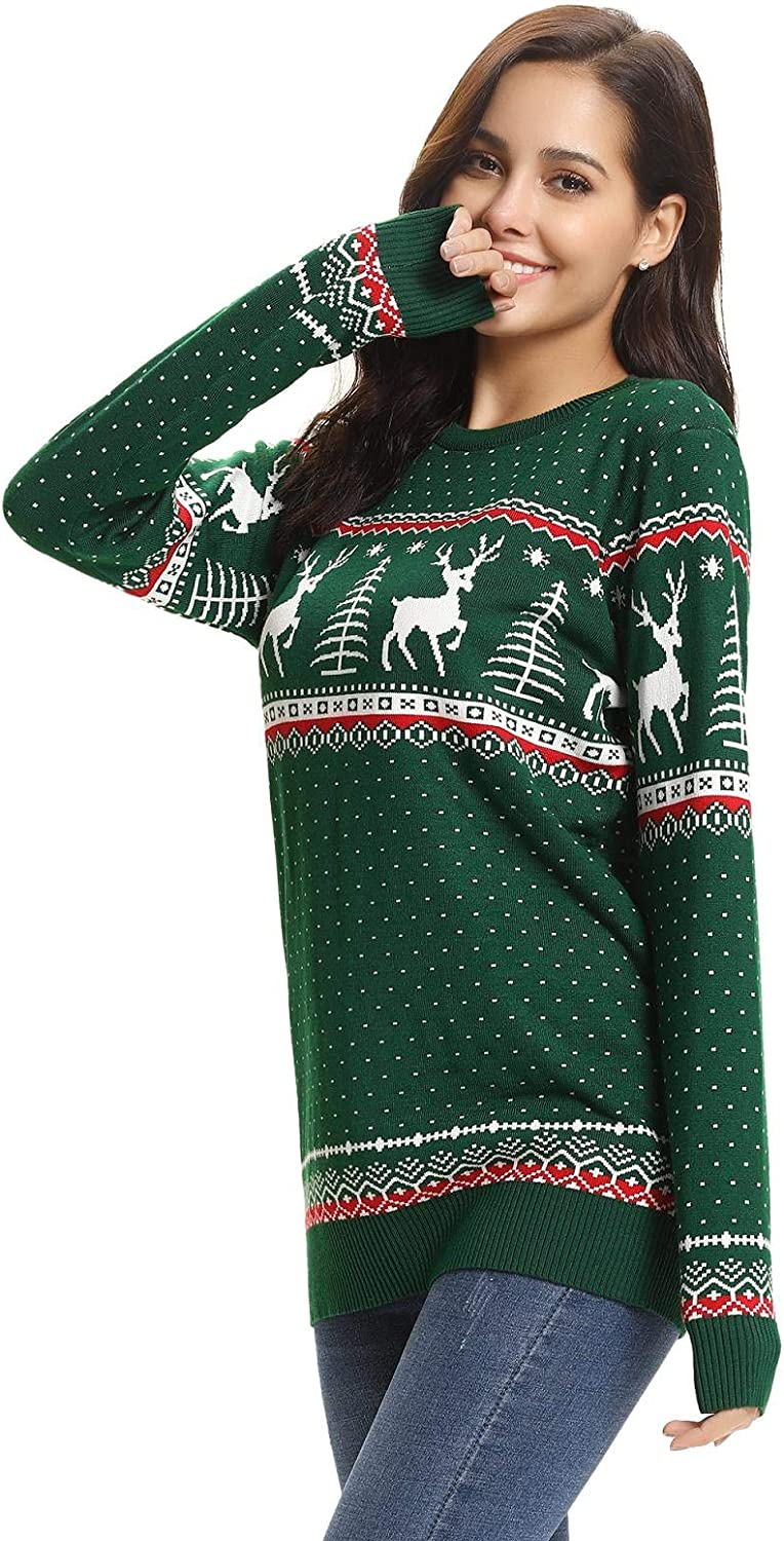 Aibrou Women Christmas Sweater Pullover Reindeer Tree Snowflakes Patterns Pullover Tops
