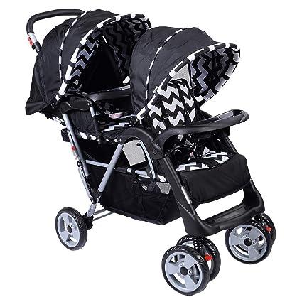 COSTWAY Silla de Paseo Gemelar Carrito Cochecito Hermanos Bebé Niño 7 a 36 Meses Plegable Ajustable con Ruedas (Negro y blanco)
