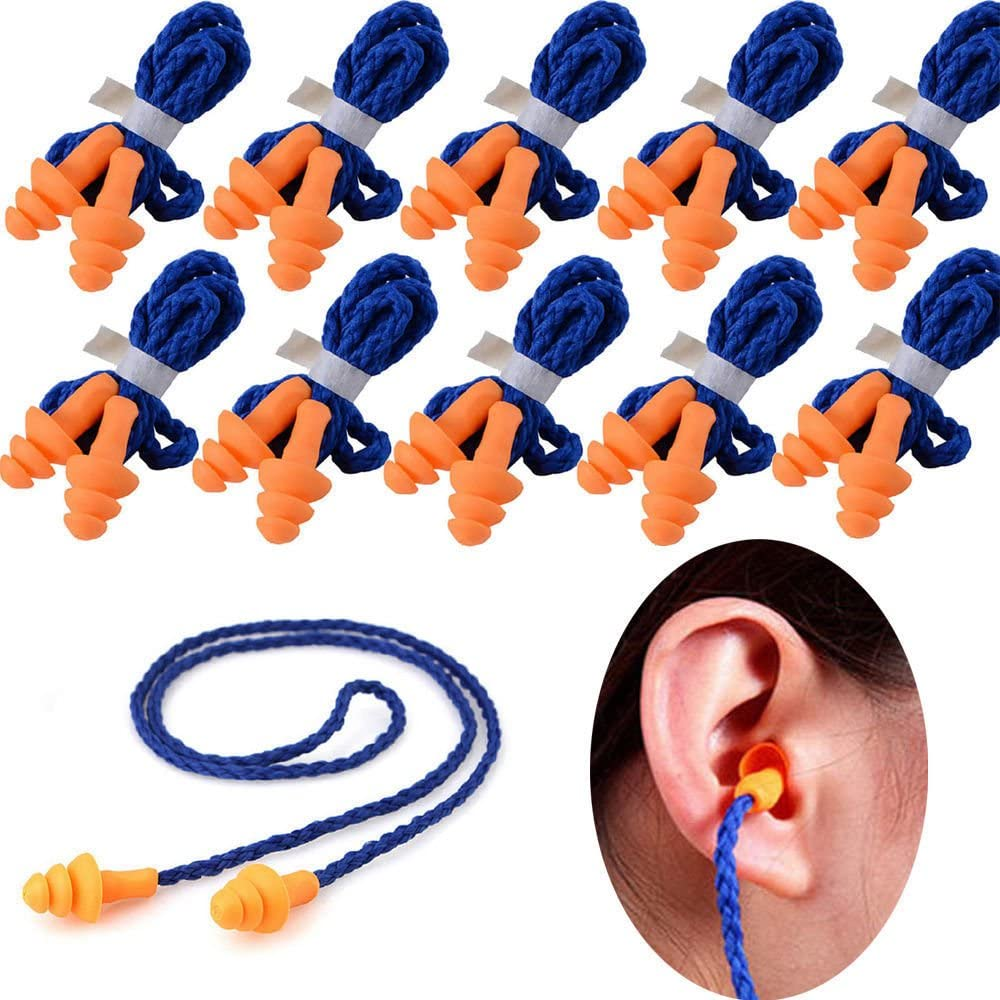 100 Pairs Individually Wrapped Non Toxic Soft Silicone Corded Ohr Plugs Reusable Hearing Protection Rubber Earplugs für Sleeping, Concerts, Music, Shooting, Construction Work, Motor Sports Racing