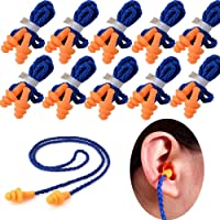 10 Pairs Soft Silicone Corded Ear Plugs Reusable Sleep Swim Noise Hearing Protection Earplugs Music Concerts Construction Shooting Hunting Motor Sports