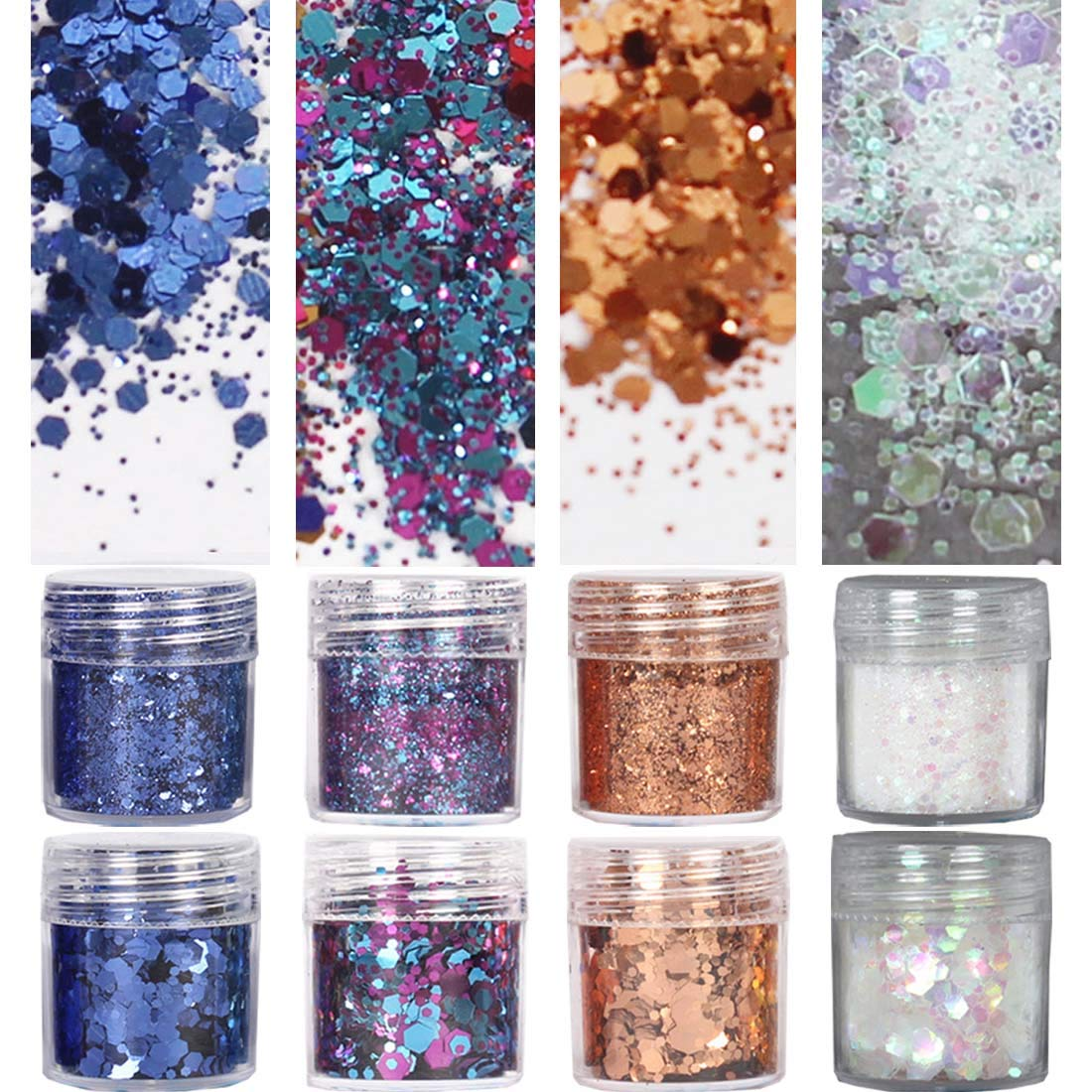 COKOHAPPY 8 Boxes Shimmer Chunky Glitter Makeup, Nail Art Holographic Flake Cosmetic Sequins Glitter, Ultra-thin Face Glitter Iridescent Sparkle Mixed for Body Hair