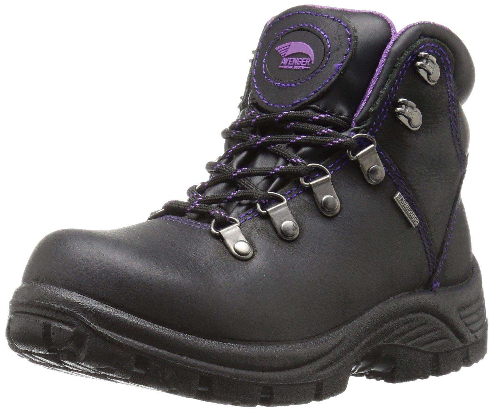 Avenger Safety Footwear Women's Avenger 7124 Waterproof Safety Toe EH SR Hiker Industrial Construction Shoe, Black, 11 M US