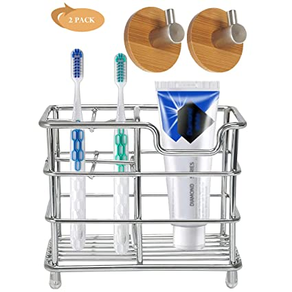 Stainless Steel Toothbrush Toothpaste Stand Rack Adhesive Bathroom Organizer New