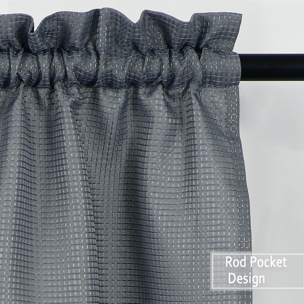 NANAN Tier Curtains,Waffle Woven Textured Bathroom Window Curtains,Tailored Waterproof Short Window Kitchen Cafe Curtains - 30'' x 36'', Grey, Set of 2 by NANAN (Image #3)
