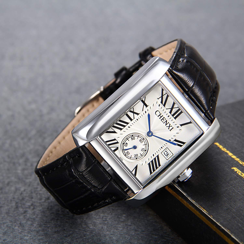 Amazon.com: Lancardo Antique Mens Square Face Leather Japan Quartz Watch Independent Second Dial Calendar(Black): Watches