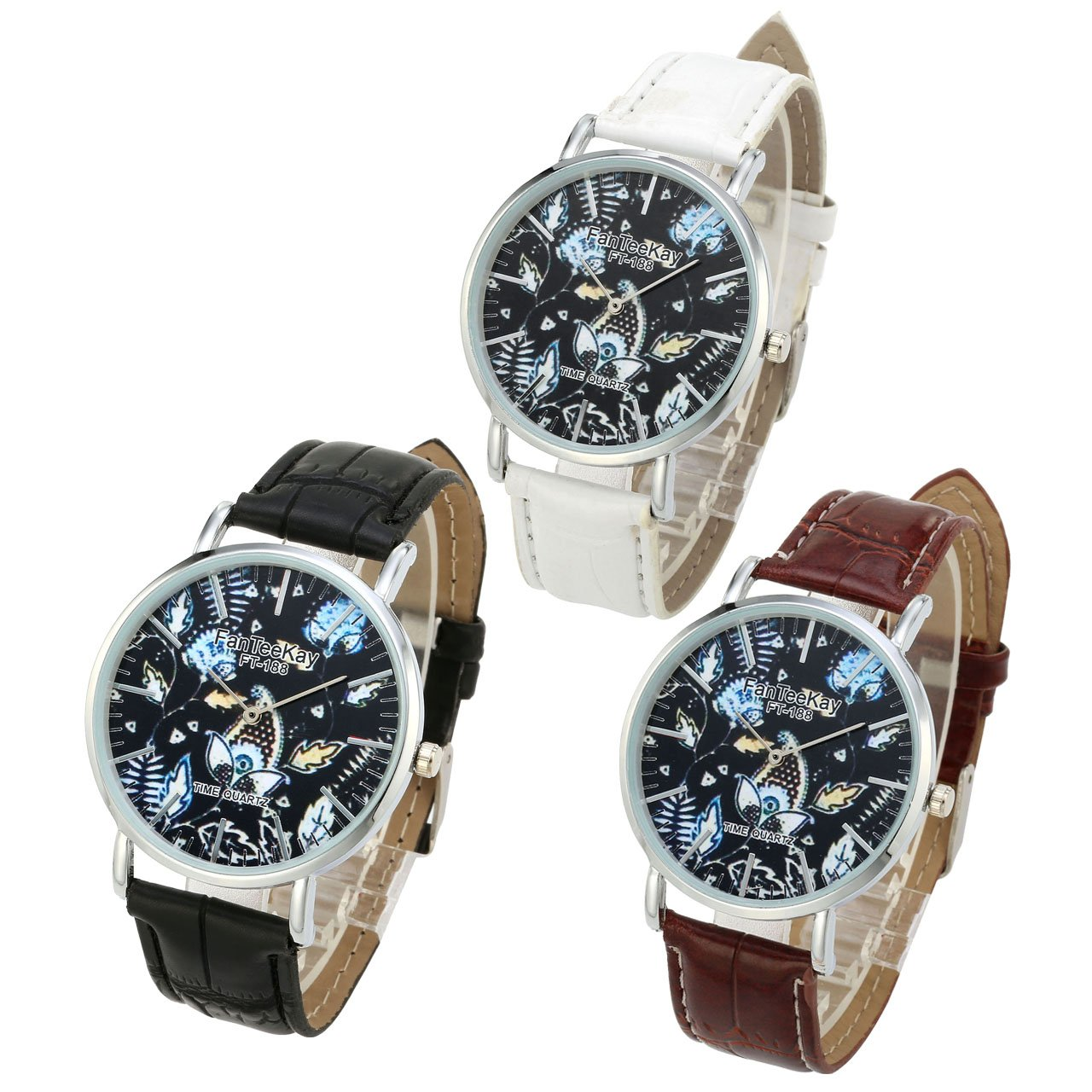 Top Plaza Unisex Simple Casual Silver Tone Analog Watch Flowers and Plants Pattern No Number Dial PU Leather Strap Quartz Watch(Pack of 3)