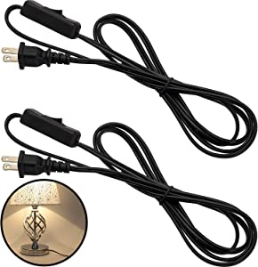 2 Pack PVC 1.8 Meter/ 6ft Lamp Cable Cord with Molded Plug for Wiring on Household Small Appliances, 220-240V (Black)