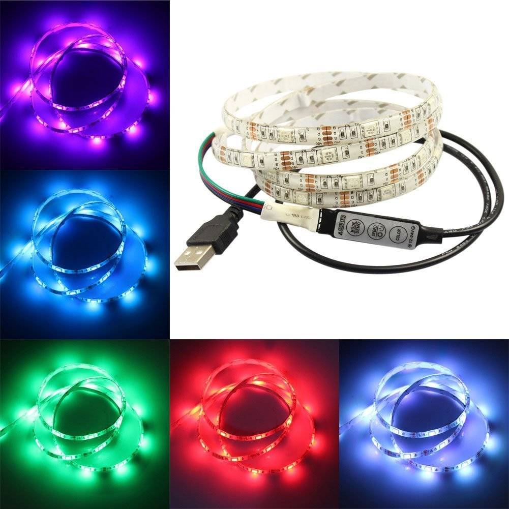 Black Doshop Christmas LED Strip Lights by 3M Adhesive 5050 RGB TV Backlight Bias Lighting 20 Color Selections with 3 Key Remote Control IP65 USB Powered Led Strip 100CM//3.2 Ft Length