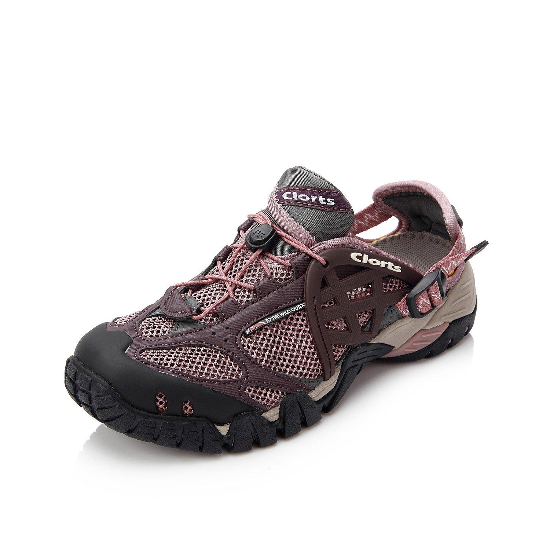 Clorts Women's Water Shoes Quick Drying Hiking Walking Shoes Purple WT-05A US9