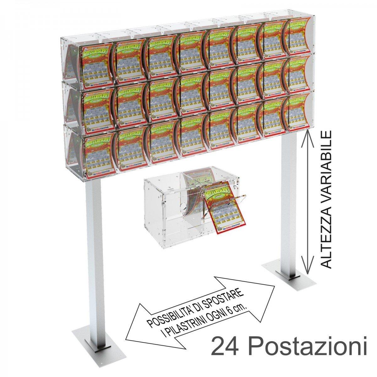 Espositore gratta e vinci da banco in plexiglass trasparente a 24 contenitori munito di sportellino frontale lato rivenditore