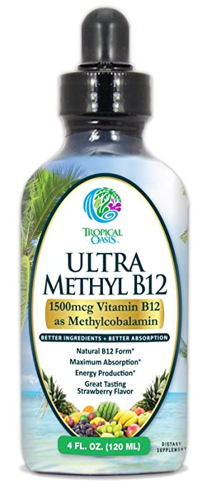 Ultra Methyl B12 - Liquid Vitamin B12 Drops (as Methylcobalamin)- Up to 96% Absorption - Help Fights fatigue and provide natural energy* - 4 oz, 24 servings