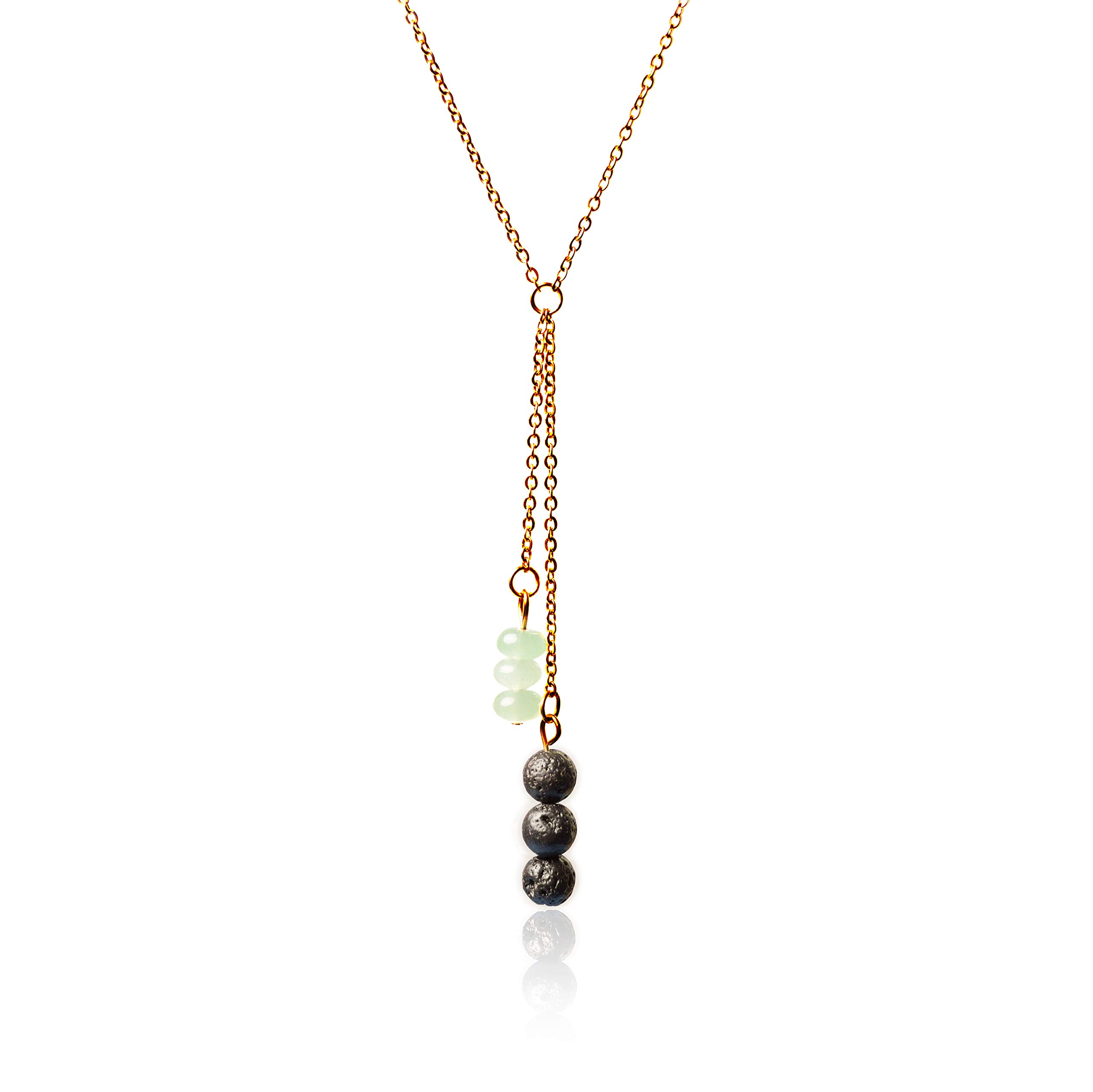 """Lava Stone and Aventurine Essential Oil Diffuser Necklace with Stainless Steel Chain, 19+2"""" Extender"""