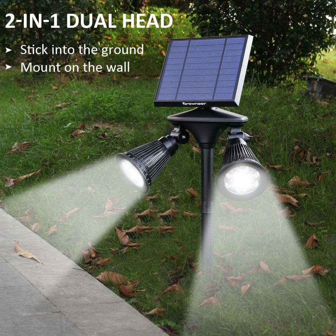 Solar Spotlights 2-in-1 Dual Head Outdoor 12 LED Landscape Lights, 360 Degree Rotatable Adjustable Solar Wall Light Security Lighting Dark Sensing Auto On/Off for Pathway Yard Garden Driveway Pool