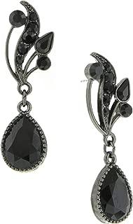 "product image for 1928 Jewelry""Signature"" Black Swarovski Crystal Vine Teardrop Earrings"