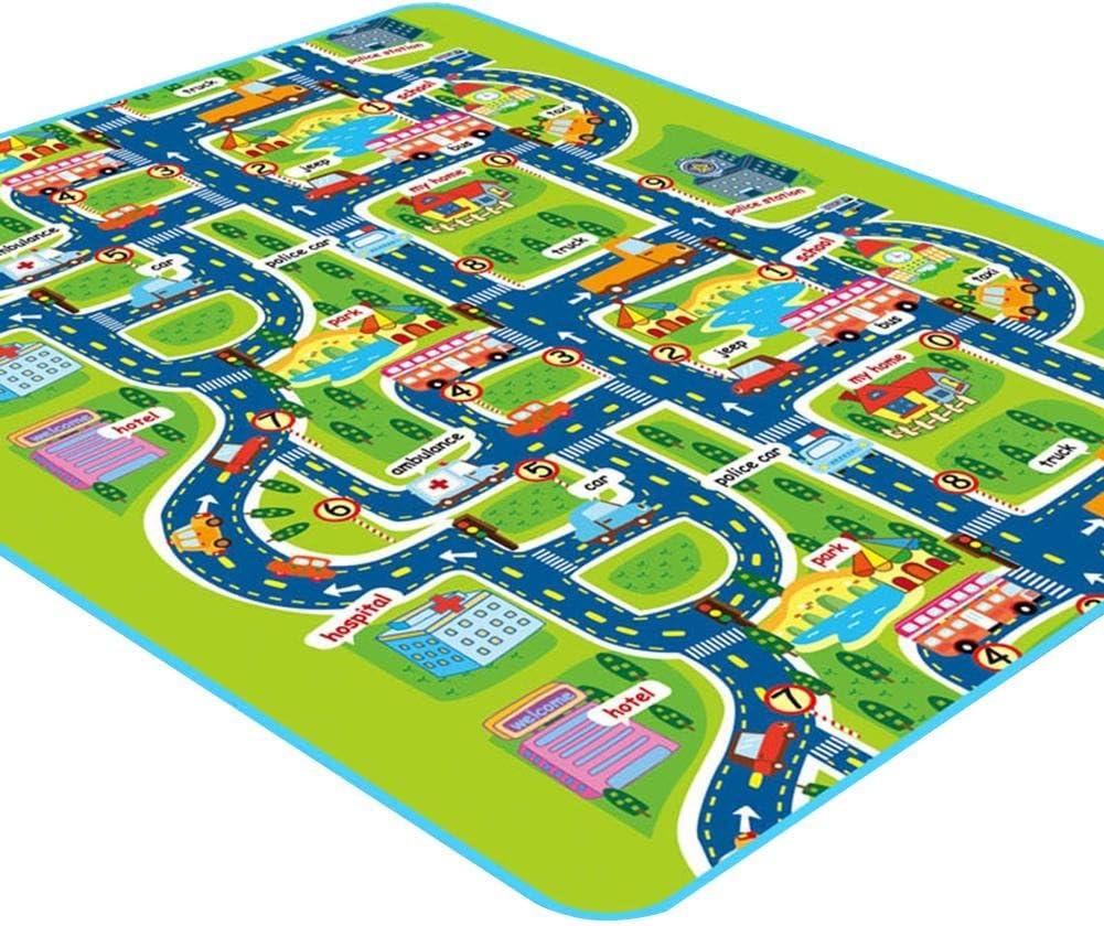 Duhe - Alfombra para niños Ideal para Jugar con Aprender y divertirse de Forma Segura para bebés, niños, Alfombra educativa para el tráfico de la Carretera, para Dormitorio