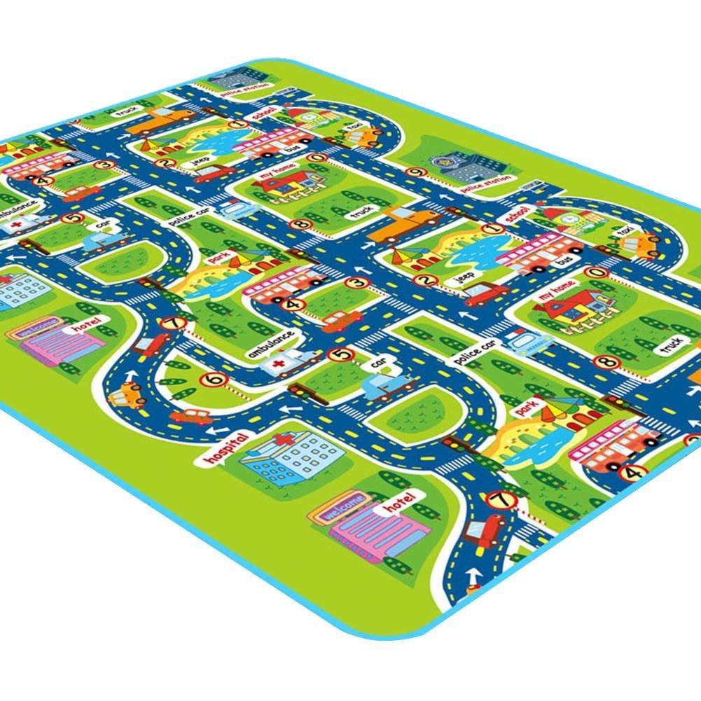 Bébé Tapis de jeu Bébé pour Puzzle Digital Trafic Educational – Enfant double face pliante Tapis Couverture enfants jouet Tapis de jeu écologique pour enfants beautygoods