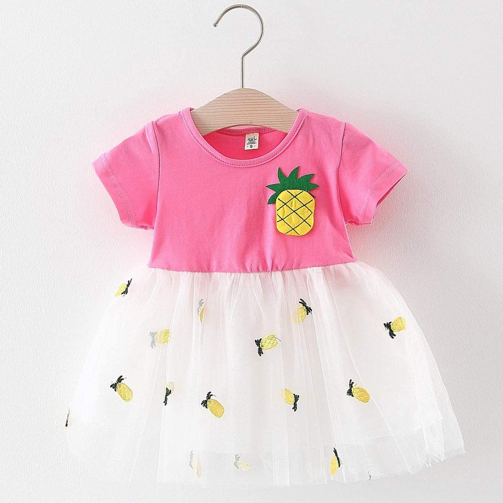 Womola 2PCS Fashion Toddler Kids Baby Girl Clothes Outfit Short Sleeve Pineapple Print Tulle Skirt Princess Dress